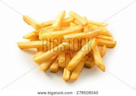 Stack Of Golden Crispy Deep Fried Potato Chips