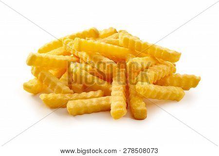 Pile Of Golden Crispy Crinkle Cut Pommes Frites
