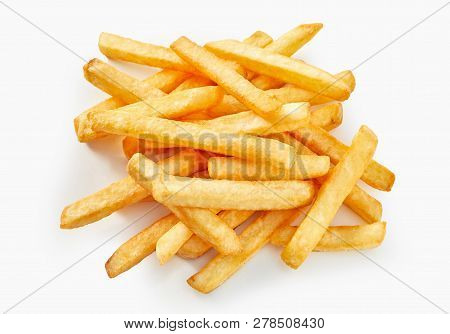 Long Cut Of French Fries In Flat Lay View On White Background.