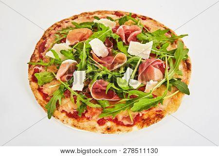 Margherita Pizza Topped With Prosciutto Ham