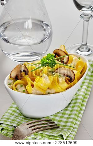 Italian Pasta With Mushrooms And Cheese