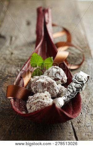 Gourmet Handmade Chocolate Bonbons On A Buffet