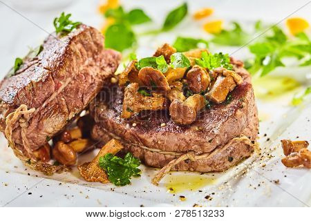 Rare Roasted Thick Juicy Beef Fillet Medallion