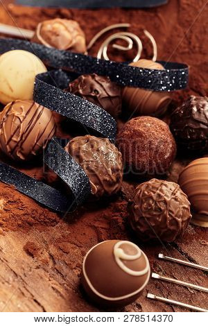 Selection Of Different Handmade Chocolate Balls
