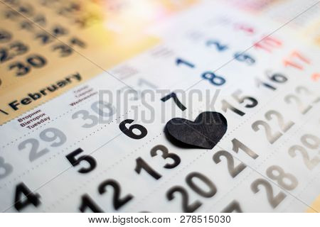 Calendar With Valentines Day On 14th Of February Closed By Black Heart. Undivided Love And Broken He
