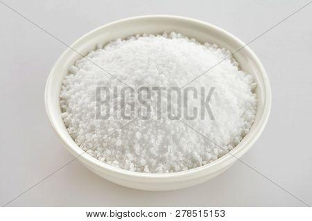 Bowl Of White Fleur De Sel Salt