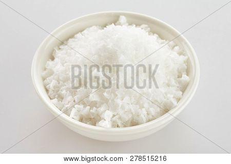 Bowl Of White Portuguese Flor De Sal