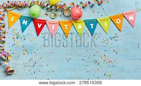 Colorful Bunting With Text - Invitation