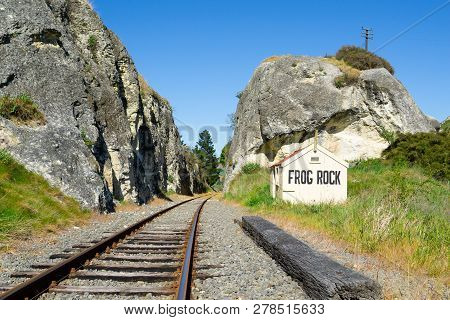 Railway Lines Through Gorge, Between Large Rock Outcrops Past Old Disused Frog Rock Station In Waipa