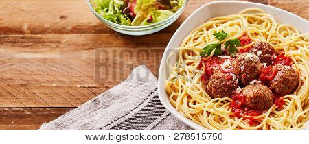 Serving Of Spicy Mini Meatballs With Noodles