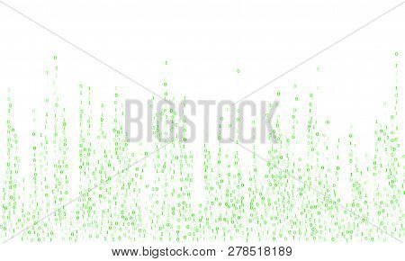 Vector Binary Code Cyber Background. Big Data Concept, Neon Row Matrix Vector. Data Technology Compu