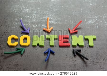 Important Of Content In Advertising And Communication Concept, Colorful Arrows Pointing To The Word