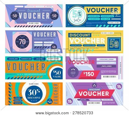 Set Of Assorted Colorful Gift Vouchers With Different Discounts And Values