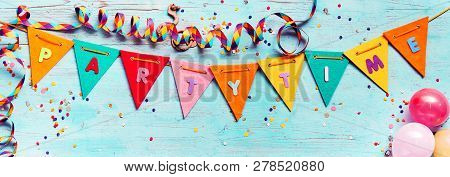 Festive Partytime Panorama Banner With Bunting