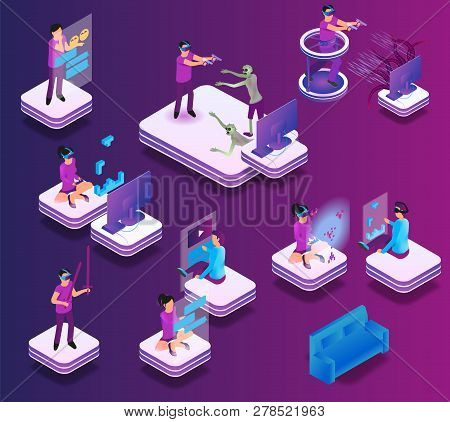 Isometric Gaming Experience In Virtual Reality. Vector Set Illustration Online Communication Friend,