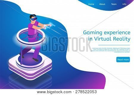 Isometric Gaming Experience In Virtual Reality. Vector Banner Illustration Guy Playing Video Game Us
