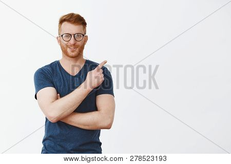 Self-assured Man Know What You Need. Portrait Of Confident Masculine And Smart Redhead Male With Bri