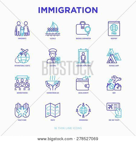 Immigration Thin Line Icons Set: Immigrants, Illegals, Baggage Examination, Passport, International