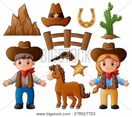 Illustration Of Cartoon Cowboy And Cowgirl With Wild West Elements