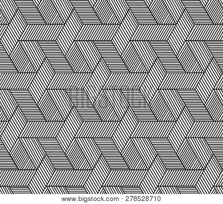 Seamless Hexagon Rattan Pattern Vector Art Design