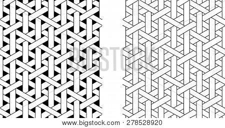 Outline Seamless Weave Rattan Pattern, Vector Art Design