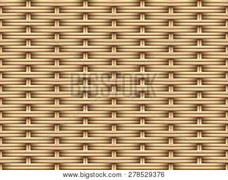 Seamless 3d Brown Rattan Pattern, Vector Art Design
