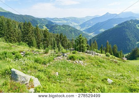 Idyllic landscape in summer in the French Alps