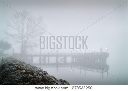 Richmond Fishing Pier Fog. Fog Blankets The No. 3 Road Fishing Pier In Richmond In The Early Morning
