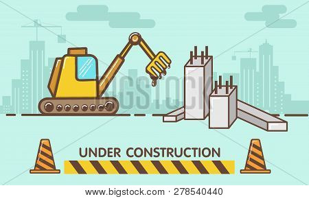 Construction Site,flat Style Vector,building A House Or Webpage, Vector Flat Illustration. - Vector