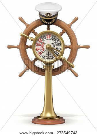 Sailing Concept With Ship Steering Wheel, Engine Room Telegraph And Navy Captain Hat - 3d Illustrati