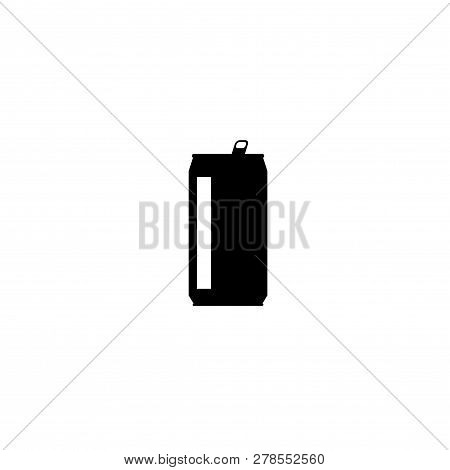 Drink Can Vector Icon Isolated On White Background, Flat Silhouette Design, Shape Clipart