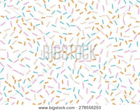 Colorful Abstract Confetti Background Pattern Vector. Memphis Seamless Seamless Pattern With Colorfu