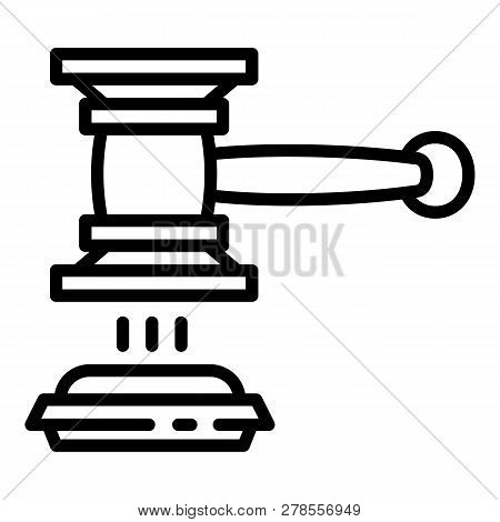 Judge Gavel Decision Icon. Outline Judge Gavel Decision Icon For Web Design Isolated On White Backgr