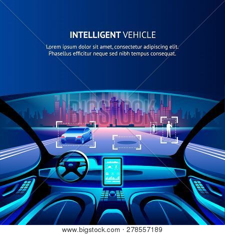 Intelligent Vehicle Cockpit Cityscape View. Vector Illustration Of Autonomus Smart Car. Driverless A