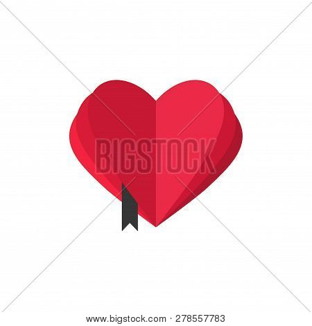 Abstract Heart Shaped Book With Open Pages Vector Logo Template, Book Love Symbol, Book Mark, Love B