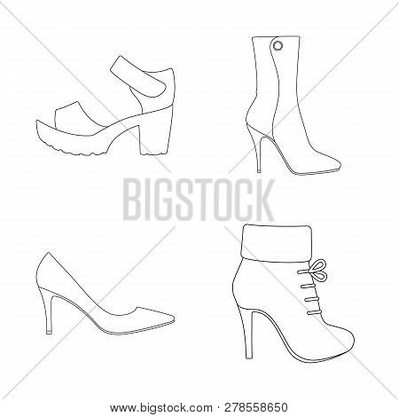 Vector Design Of Heel And High Logo. Collection Of Heel And Stiletto Stock Vector Illustration.