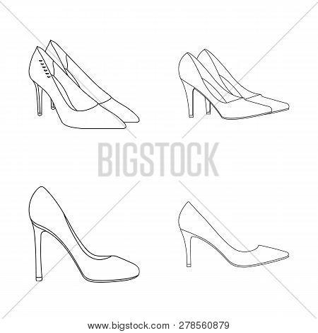 Isolated Object Of Heel And High Logo. Collection Of Heel And Stiletto Stock Vector Illustration.