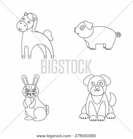 Vector Design Of Animal And Habitat Logo. Collection Of Animal And Farm Stock Vector Illustration.