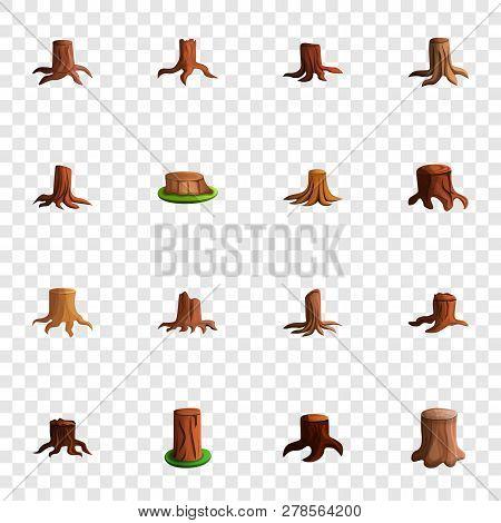 Stump Tree Icon Set. Cartoon Set Of Stump Tree Icons For Web Design