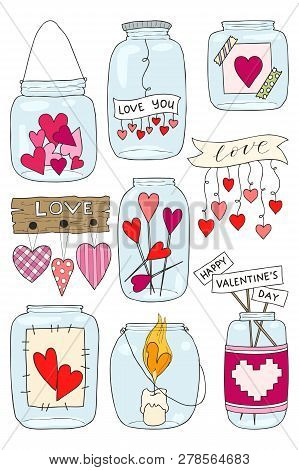 Set Of Hand Drawn Vector Illustration Of A Mason Jar With Hearts And Inscriptions Love You, Candle,