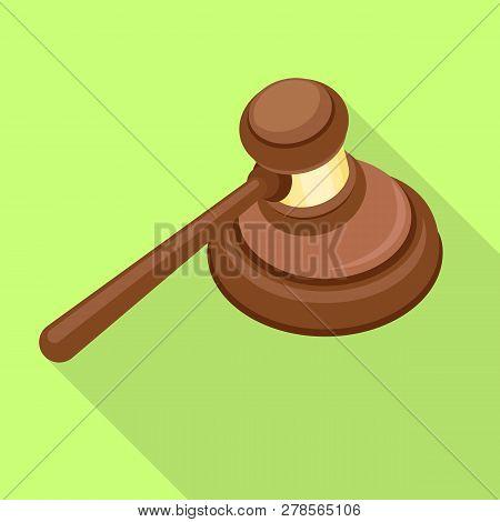 Wood Judge Hammer Icon. Flat Illustration Of Wood Judge Hammer Icon For Web Design