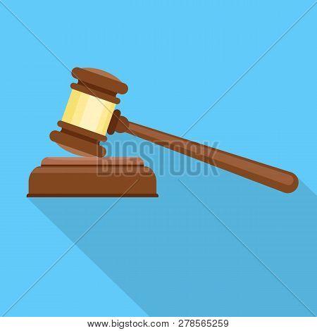 Judge Hammer Icon. Flat Illustration Of Judge Hammer Icon For Web Design
