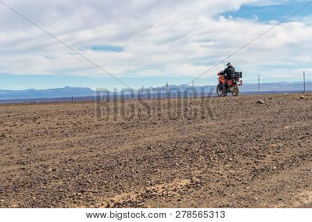 Tankwa Karoo National Park, South Africa, August 30, 2018: A Motorcycle In The Tankwa Karoo In The N