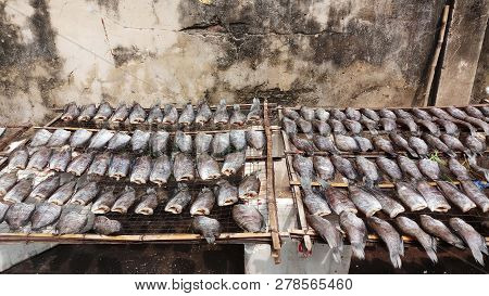 A Lot Of Sun-dried Fish (trichogaster Pectoralis), Food Preservation In Thailand