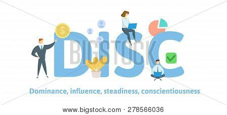 Disc, Dominance, Influence, Steadiness, Conscientiousness. Concept With Keywords, Letters, And Icons