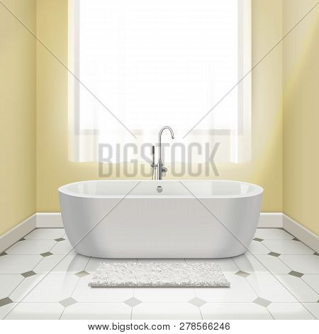 Modern White Bathtub In Interior. Vector Illustration Of Bath With Yellow Walls, Tiled Floor With A