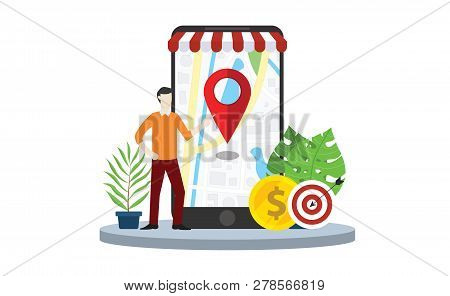 Local Seo Market Strategy Business Search Engine Optimization With Business Man Stand In Front Of Mo