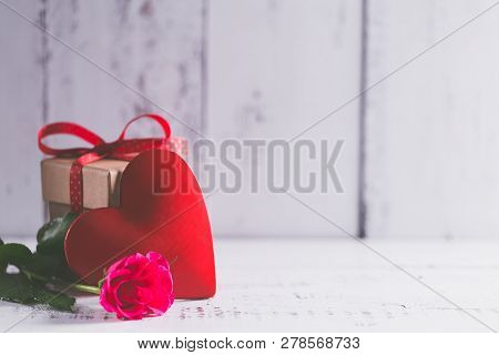 Concept Of  Valentines Day Gift On Wooden Table.