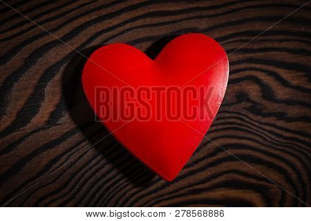 Valentines Day Red Heart On Wooden Table.
