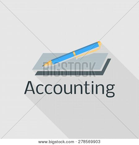 Accounting Pen Logo. Flat Illustration Of Accounting Pen Logo For Web Design